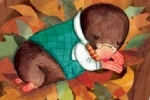 Antonia Woodward Illustration - antonia woodward, commercial, trade, picture book, picturebook, novelty, sweet, fiction, traditional, painted, collage, digital, animals, moles, autumn, leaves, hibernation