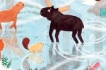 Emma Randall Illustration - emma, randall, emma randall, commercial, trade, sweet, young, picture book, paint, painting, digital, photoshop, illustrator, christmas, seasonal, fiction, snow, winter, horse, nature, animals, wild, moose, rabbit, beaver, foxes, ice, lake, frozen,