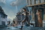 Sean Hayden Illustration - sean hayden, sean, hayden, paint, painted, digital, traditional, commercial, educational, fiction, picture books, night, fight, pirates, town, moon, sword, hat, battle