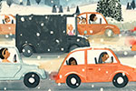 Claire Shorrock Illustration - claire, shorrock, claire shorrock, picture book, greetings cards, licensing, trade, painted, traditional, festive, seasonal, christmas, snow, snowing, winter, cars, traffic, travel, vehicles, moon, stars, night, sky, trees, driving, road, people, busy