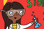 Damien & Lisa Barlow Illustration - Damien, Lisa, Damien & Lisa, Barlow, Damien & Lisa Barlow, digital, photoshop, book, trade, mass market, fiction, picture book, colourful, educational, illustrator, science, scientist, woman, girl, person, microscope, bottles,test tubes, goggles, laborato