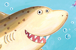 Debbie Tarbett Illustration - debbie, tarbett, debbie, tarbett, digital, colour, photoshop, illustrator, mass market, educational, novelty, young, commercial, picture book, board book, sweet, shark, fish, bubbles, water, under water, sea
