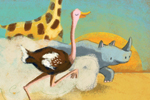 Esther van den Berg Illustration - esther van den berg, esther, van den berg, painted, digital, commercial, advertising, advertisements, posters, editorial, magazines, mass market, trade, photoshop, illustrator, animals, rabbit, bunny, snail, giraffe, ostrich, rhino, sun, africa, leaves, h