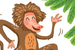 Esther van den Berg Illustration - esther van den berg, esther, van den berg, painted, digital, commercial, advertising, advertisements, posters, editorial, magazines, mass market, trade, photoshop, illustrator, animals, monkeys, dancing, leaves, fur, happy, friends, friendship