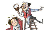 Eglantine Ceulemans Illustration - eglantine ceulemans, eglantine, ceulemans, pen, ink, watercolour, painting, painted, fiction, commercial, picture book, man, person, character, barber, hairdresser, apron, boy, child, haircut, hair, chair, ladder, mirror, scissors,