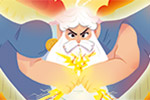 Ester Garay Illustration - ester, garay, ester garay, commercial, educational, fiction, mass market, picture books, colour, colourful, greek, mythology, fantasy, character, classic, tale, story, man, god, zeus, lighting, thunder, lightning bolts, wings, clouds