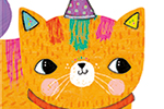 Emma Haines Illustration - emma haines, emma, haines, illustrator, artist, bright, colourful, digital, photshop, hand drawn, colour, funny, cute, sweet, cat, animal, birthday, hat, party, party hat, balloons, bell, ginger, rainbow, colours,