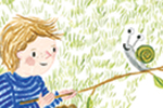 Emily Hamilton Illustration - emily, hamilton, emily hamilton, emily hamilton illustration, drawing, pencil, hand drawn, trade, traditional, commercial, picture book, picturebook, sweet, cute, boy, child, person, figure, garden, house, home, snail, stick, pet, happy, friends, grass, d
