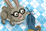 Eefje Kuijl Illustration - eefje, kuijl, eefji kuijl, commercial, educational, fiction, mass market, illustration, young reader, YA, digital, colour, colourful, photoshop, animals, bear, hare, rabbit, friends, we go together, bed, sleep, feather, tickle, prank, joke, funny, laugh,