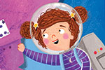 Emma Randall Illustration - emma, randall, emma randall, commercial, trade, editorial, sweet, young, fiction, picture book, greetings cards, paint, painting, digital, photoshop, illustrator, cover, fiction, rocket, space, stacey, rickety rocket, stars, astronaut