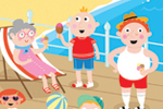Emily  Golden  Illustration - emily, golden, emily golden, digital,colourful, colour, commercial, novelty, picture book, picturebook, animal, fish, people, person, child, children, figures, boys, girl,crowd, woman,man, ice cream, water, beach, sand, seaside, summer, seasonal, pier