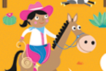 Emily Golden Illustration - emily, golden, emily golden, digital,colourful, colour, commercial, novelty, picture book, picturebook, animals, cows, horses, cowboys, men, people, person, figures, dessert, sunshine, sun, sky, clouds, cactus, ranch