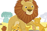 Eva Maria Gey Illustration - eva maria gey, illustration, commercial, educational, mass market, digital, YA, young reader, colour, colourful, digital, photoshop, bright, cute, sweet, animals, wild, lions, family, zebra, jungle, grass, nature, trees, cubs, mane, rock, plants, flowers