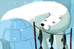 Giuseppe Di Lernia Illustration - giuseppe, di lernia, giuseppe di lernia, graphic, editorial, illustrator, photoshop, picturebook, YA, young reader, digital colour,colourful, igloo, funny, humour, animal, polar bear, bear, fish, food, man, figure, figurative, home, snow, cold, ice, snowi