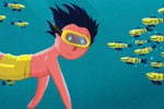 Giuseppe Di Lernia Illustration - giuseppe, di lernia, giuseppe di lernia, graphic, editorial, illustrator, photoshop, picturebook, YA, young reader, digital colour,colourful, fish, man, figure, figurative, swiming, swim, hobby, water, ocean, sea, underwater, snorkeling