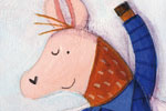 Judi Abbot Illustration - judi, abbot, judi abbot, acrylic, paint, painted, traditional, commercial, picture book, picturebook, colour, colourful, sweet, bed, bedroom, pattern, patchwork, sleeping, stars, animals , sky, night time