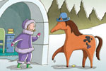 Garyfallia Leftheri Illustration - garyfallia leftheri, garyfallia, leftheri, commercial, picture book, picturebook, educational, digital, illustrator, photoshop, person, figure, woman, horse, animal, igloo, house, trees, hat