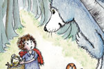 Heather Dickinson Illustration - heather, dickinson, heather dickinson, traditional, paint, painted, painting, watercolour, pencil, commercial, picture book, fiction, educational, little red riding hood, children, girls, forests, woods, trees, animals