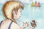 Heather Dickinson Illustration - heather, dickinson, heather dickinson, traditional, paint, painted, painting, watercolour, pencil, commercial, picture book, fiction, educational, young reader, YA, seagull, mermaid, girl, child, children, figures, people, water, boats, sailing, sail, sea