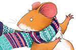 Hannah Whitty Illustration - hannah whitty, commercial, paint, painted, watercolour, picture book, picturebook, fiction, digital, cute, sweet, young, mouse, mice, happy, scarf, detail, pattern, colour, stripes, spots, winter, cold, autumn, cosy, warm, wool, knit