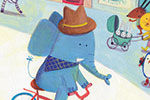 Judi Abbot Illustration - judi, abbot, judi abbot, acrylic, paint, painted, trade, traditional, commercial, picture book, picturebook, sweet, cute, animals,rhino, elephant, town, busy, bike, hat, funny, houses, church, market, stall, flamingo, penguin, mouse, panda, bear, zebra