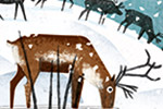 Julio Antonio Blasco Illustration - julio antonio blasco, picture book, colour, digital, texture, print, paint, traditional, non-fiction, learning, educational, animals, wild, geography, world, map, postcard, deer, reindeer, hills, snow, winter, seasonal, festive, christmas, magical, northe