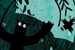 Julio Antonio Blasco Illustration - julio antonio blasco, picture book, colour, colourful, digital, photoshop, texture, print, paint, traditional, fiction, jungle, night, dark, leaves, trees, shadows, silhouettes, creature, surprise, jump, bird, flying, fly, shocked, leaves