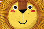 Julio Antonio Blasco Illustration - julio antonio blasco, picture book, colour, colourful, digital, photoshop, texture, print, paint, traditional, fiction, animal, wild, character, lion, tail, crown, king, clouds, cute, sweet, smile, happy,