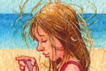 Jennifer Emery Illustration - ennifer emery, jennifer, emery, watercolour, traditional, painted, educational, picture book, commercial, people, children, girls, beach, ocean, swim, sand, castle,