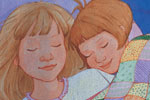 Jennifer Hall Illustration - jennifer hall, jennifer, hall, watercolour, traditional, painted, educational, picture book, commercial, people, children, girls, sleeping, dreaming