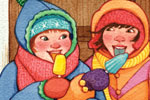 Jennifer Hall Illustration - jennifer hall, jennifer, hall, watercolour, traditional, painted, educational, picture book, commercial, people, children, girls, fiction, winter, ice cream, lollies