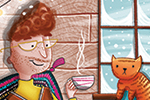Jen Jamieson Illustration - jen jamieson, illustrator, digital, texture, colour, colourful, picture book, vignette, character, man, person, cats, pets, animals, house, home, window, lights, cosy, cup, mug, winter, snow, snowing, seasonal, festive, relax, reading, books, resting, pla