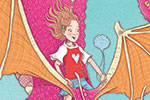 Jennifer Miles Illustration - jennifer, miles, jennifer miles, watercolour, traditional, painted, educational, picture book, commercial, digital, dragon, girl, colour, bright, hearts, ,fire, wings, flying, fantasy,