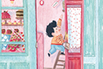 Jessica Martinello Illustration - jessica, martinello, jessica martinello, illustration, hand drawn, painted, digital, novelty, picture book, commercial, educational, sweet, young, fiction, trade, YA, building, business, patisserie, bakery, shop, dog, cake, mess, boy, ladder, work, cute