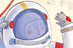 Jessica Martinello Illustration - jessica, martinello, jessica martinello, illustration, hand drawn, painted, digital, novelty, picture book, commercial, educational, sweet, young, fiction, trade, space, moon, astronaut, alien, earth, space, stars, spaceship, shuttle, nasa, happy, smile,