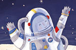 Jessica Martinello Illustration - jessica, martinello, jessica martinello, illustration, hand drawn, painted, digital, novelty, picture book, commercial, educational, sweet, young, fiction, trade, moon, stars, space, astronauts, happy, running, earth, planets, people,