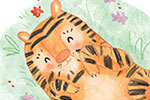 Jessica Martinello Illustration - jessica, martinello, jessica martinello, illustration, hand drawn, painted, digital, novelty, picture book, commercial, educational, sweet, young, fiction, trade, animals, wild, tiger, sleeping, playing, nature, jungle, character, grass, hiding,
