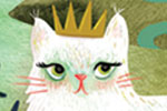 Jojo Clinch Illustration - jojo, clinch, jojo clinch, fiction, picture book, pencil, colour, hand drawn, traditional, digital, texture, cat, animal, wild, crown, fairy, fairies, wings, wand, sparkles, house, buildings, hills, castle, river, nature, grass, plants, trees, moon, stars
