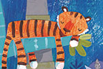 Joanne Partis Illustration - joanne, partis, joanne partis, mixed media, collage, acrylic, paint, trade, commercial, trade, educational, editorial, apple, advertising, greetings cards, picture book, traditional, texture, animals, woods, jungle, tigers, trees, cubs,