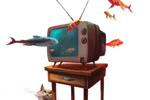 Jordi Solano Illustration - ordi solano, jordi, solano, painterly, painted, magical, whimsical, digital, photoshop, YA, young fiction, picture books, fantasy, crayon, acrylic, television, tv, animals, pets, fishes, gold fishes, memo, cats, kittens, kitty, kitties, tiles, drowns, flo