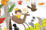 Jordan Wray Illustration - Jordan, Wray, Jordan Wray, illustration, pencil, drawing, photoshop, colour, colourful, commerical, mass market, fiction, cute, sweet, boy, child, drawn, prince, woods, forest, trees, nature, deer, animals, wild, running, leaves, autumn, fall, seasonal, r