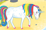Katy Halford Illustration - katy, halford, katy halford, illustration, fiction, picture book, commercial, characters, people, animals, unicorn, rainbow, village, town, unicorn, sad, rainbows, seaside, sand, beach, trees, rocks, fairy, knights, witch, princess