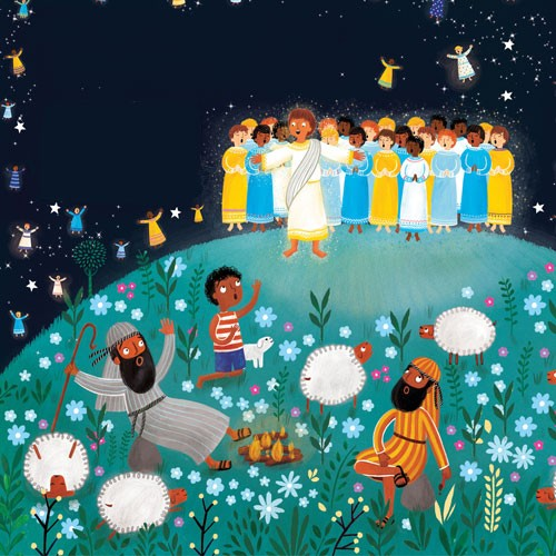 Emma  Randall  Illustration - emma, randall, emma randall, commercial, trade, editorial, sweet, young, fiction, picture book, greetings cards, paint, painting, digital, photoshop, illustrator, christmas, story, nativity, christian, religion, cover, colour, baby, jesus, men, angels