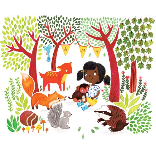 Emma Randall Illustration - emma, randall, emma randall, commercial, trade, editorial, girly, cute, sweet, young, fiction, picture book, greetings cards, paint, painting, digital, photoshop, illustrator, woods, trees, animals, girl, fox, squirrel, badger, dog, mushrooms, leaves