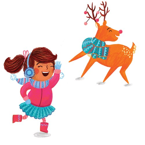 Emma Randall Illustration - emma, randall, emma randall, commercial, trade, editorial, girly, cute, sweet, young, fiction, picture book, greetings cards, paint, painting, digital, photoshop, illustrator, christmas, people, children, girls, animals, reindeer, winter, cold