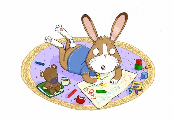 Ian Smith Illustration - ian smith, digital, commercial, sweet, young, picture book, picturebook, animals, rabbits, bunny, bunnies, colouring, teddy