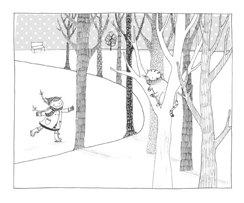 Antonia Woodward Illustration - antonia woodward, commercial, trade, picture book, picturebook, paint, fiction, educational, black and white line, black line, black and white, people, children, girls, forests, woods, trees