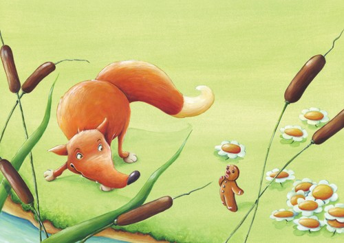 Bruno Robert Illustration - Painted, paint, Commercial, Picture Book, Fox, foxes, Gingerbread Man, Biscuit, Reed, reeds, River, Flowers, grass, bruno, robert, bruno robert