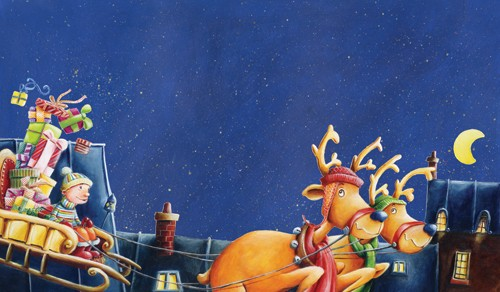 Bruno Robert Illustration - Christmas, Reindeer, Sleigh, Presents, Moon, Stars, Houses, house, Roof Tops, rooftops, rooftop, Painted, paint, acrylic, Commercial, Picture Book, bruno, robert, bruno robert