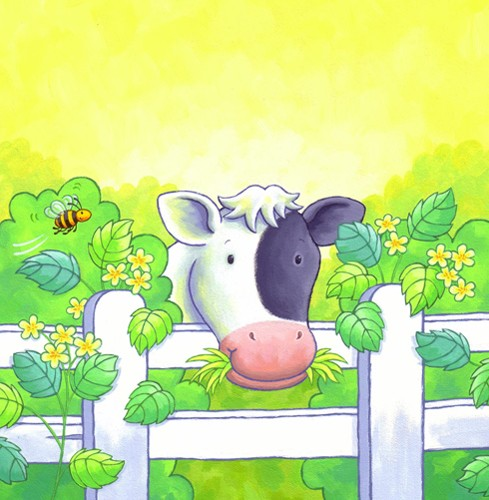 Debbie Tarbett Illustration - debbie tarbett, acrylic, paint, painted, young, sweet, commercial, novelty, board, picture book, picturebook, animals, cows, farm, farmyard